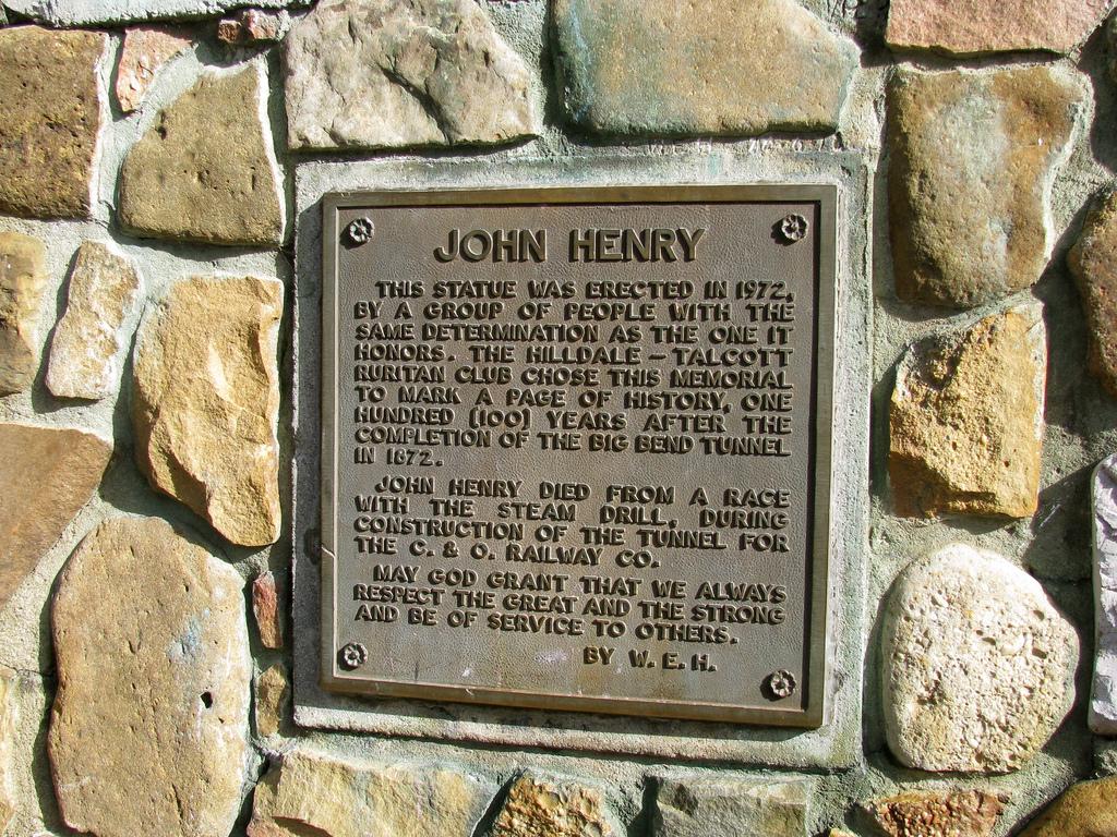 Marker on John Henry Statue